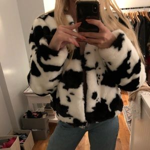 NWT Forever21 cow print fur coat size:small